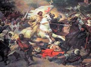 Santiago ayudando al rey Ramiro I en la Batalla de Clavijo