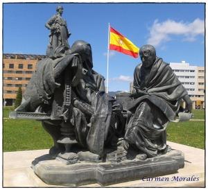 Séneca y Nerón, copia del grupo escultórico de Eduardo Barrón situado en una avenida de la ciudad de Córdoba.