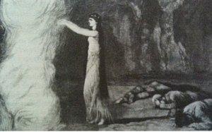 Ayesha, entrando al Pilar del Fuego donde reside El Espíritu de Vida Eterna