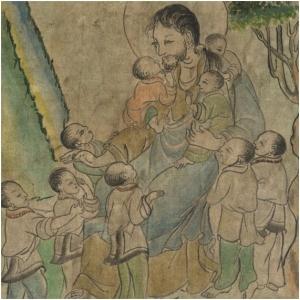 Del mismo conjunto anterior, escena de arte tibetana de Jesús y los niños