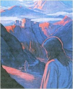 Jesús aproximándose a Ladakh, pintado por Michael Spooner