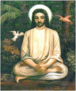Jesús meditando en posición de Yogui