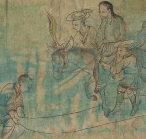 Tapiz tibetano antiguo con escena de la vida de Jesús: Entrada triunfal subido en un burro y mujer con palma de victoria