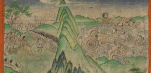 Thangka antiguo tibetano con escena de la vida de Jesus
