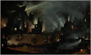 Fragmento superior del panel derecha, del cuadro El Jardín de las Delicias de El Bosco, extraído de la Wikipedia