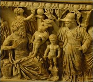 Escena central del sarcófago MC 329 del Museo Capitolino